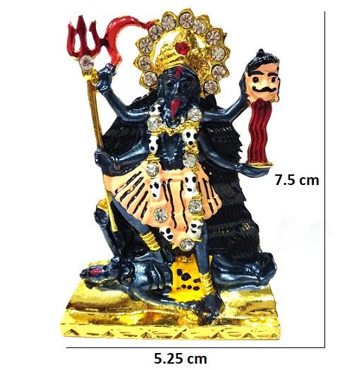 Car Dashboard Idol For Pooja Kali Mata With Golden Trishul